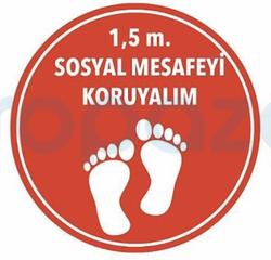 Propazar - 1,5 Metre Sosyal Mesafeyi Koruyalım Yapıştırma Sticker