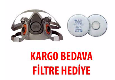 3M Yarım Yüz Maske ve Filtre Seti - Kargo Bedava