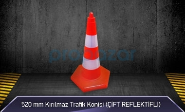 520 mm Kırılmaz Trafik Konisi ( Çift Reflektifli ) MFK3252