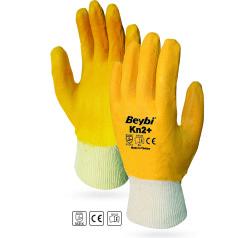 Beybi - Beybi KN2+ / EL-K2 Plus Pamuk Astarlı Tam Kaplı Sarı Nitril İş Eldiveni