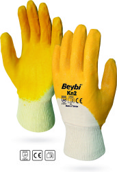 Beybi - Beybi KN25 / EL-K2 Pamuk Astarlı Siyah Nitril İş Eldiveni