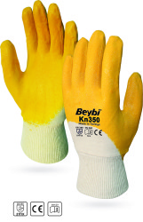Beybi - Beybi KN350 - EL350 Pamuk Astarlı Sarı Nitril İş Eldiveni