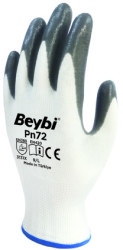 Beybi - Beybi PN72 Polyester Astarlı Gri Nitril İş Eldiveni