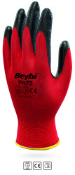 Beybi - Beybi PN75 Polyester Astarlı Kırmızı Nitril İş Eldiveni