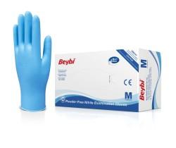 Beybi - Beybi Tek Kullanımlık Nitril Muayene Eldiveni - Mavi Pudrasız