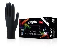 Beybi - Beybi Tek Kullanımlık Nitril Muayene Eldiveni - Siyah Pudrasız