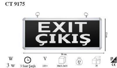 Cata CT9175 Exit Acil Çıkış Armatürü
