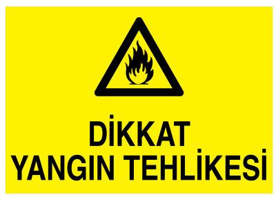 Dikkat Yangın Tehlikesi İş Güvenliği Levhası - Tabelası