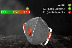 GVS Elipse - GVS Segre P3 Ventilli Katlanabilir ve Aktif Karbonlu Toz Maskesi - F30055