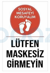 Propazar - Lütfen Maskesiz Girmeyiniz Yapıştırma Stickeri