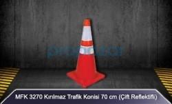 MFK - MFK 3270 70cm Kırılmaz Trafik Konisi Çift Reflektörlü