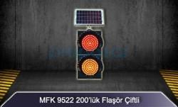MFK - Mfk 9522 Sarı Kırmızı Flaşör Güneş Enerjili ve Ledli Akülü 200lük