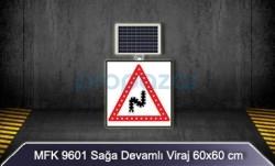 MFK - Mfk 9601 Sağa Devamlı Viraj Ledli Güneş Enerjili Solar Yol Kenarı Tabelası
