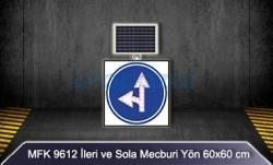 MFK - Mfk 9612 Ledli Güneş Enerjili İleri ve Sola Mecburi Yön Tabelası