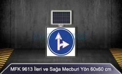 MFK - Mfk 9613 Ledli Güneş Enerjili İleri ve Sağa Mecburi Yön Tabelası