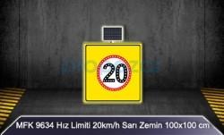MFK - Mfk 9634 Hız Limiti 20 Sarı Zeminli Güneş Enerjili Ledli Uyarı İkaz Levhası