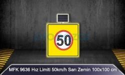 MFK - Mfk 9636 Hız Limiti 50 Sarı Zeminli Güneş Enerjili Ledli Uyarı İkaz Levhası