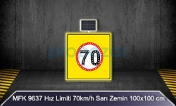 MFK - Mfk 9637 Hız Limiti 70 Sarı Zeminli Güneş Enerjili Ledli Uyarı İkaz Levhası