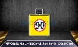 MFK - Mfk 9638 Hız Limiti 90 Sarı Zeminli Güneş Enerjili Ledli Uyarı İkaz Levhası