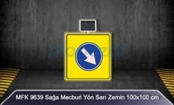 MFK - Mfk 9639 Sağa Mecburi Yön Sarı Zeminli Güneş Enerjili Ledli Uyarı İkaz Levhası