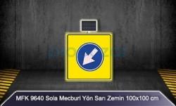 MFK - Mfk 9640 Sola Mecburi Yön Sarı Zeminli Güneş Enerjili Ledli Uyarı İkaz Levhası
