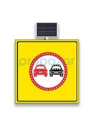 MFK - Mfk 9642 Sollama Yasak Sarı Zeminli Güneş Enerjili Ledli Uyarı İkaz Levhası