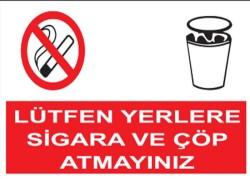 Propazar - PVC Lütfen Yerlere Sigara ve Çöp Atmayınız Levhası - Sınırlı Stok Özel Fiyat