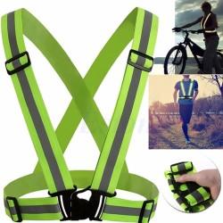 Propazar - Reflektörlü Bisikletçi - Motorcu Elastik İkaz Yeleği - Neon Sarı / Yeşil