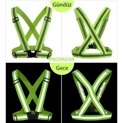 Propazar - Reflektörlü Bisikletçi - Motorcu Elastik İkaz Yeleği - Neon Turuncu