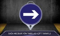 Sağa Mecburi Yön Tabelası Çift Taraflı MFK9106 - Thumbnail