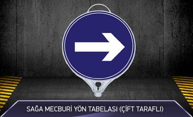 Sağa Mecburi Yön Tabelası Çift Taraflı MFK9106