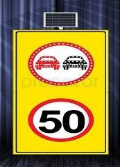 MFK - Sollama Yasak Led′li Hız Limiti 50km/h Led′siz Sarı Zemin MFK1439