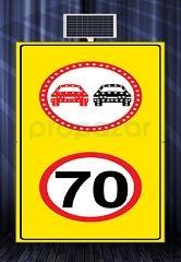 MFK - Sollama Yasak Led′li Hız Limiti 70 km/h Led′siz Sarı Zemin MFK1438
