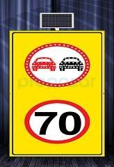 MFK - Sollama Yasak Led′li Hız Limiti 70km/h Led′li Sarı Zemin MFK1440
