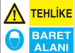 Tehlike Baret Alanı Levhası - Tabelası - Thumbnail